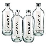 BrandPrint, Set di 4 Bottiglie in Vetro per Acqua Naturale e Frizzante Modello Artemide 1 Litro con Tappo a Vite in Alluminio. Per Bevande e Succhi.