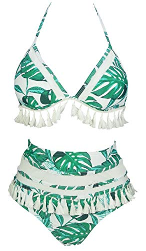 COCOSHIP Tropics Green Palm Leaves White Mesh Striped High Waist Bikini Set Tassel Fringe Top Halter Straps Swimsuit Swimwear 12