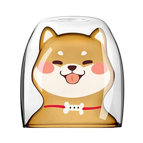 Cabilock Süße Tassen Glas Doppelwandig Isoliert Glas Hund Shiba Inu Geformte Espressotasse Hitzebeständigkeit Milchsaft Wasser Trinkbecher