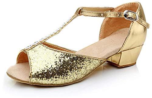 APTRO Mädchen Tanzschuhe für Latein Salsa Ballsaal Dance Schuhe Gold 29
