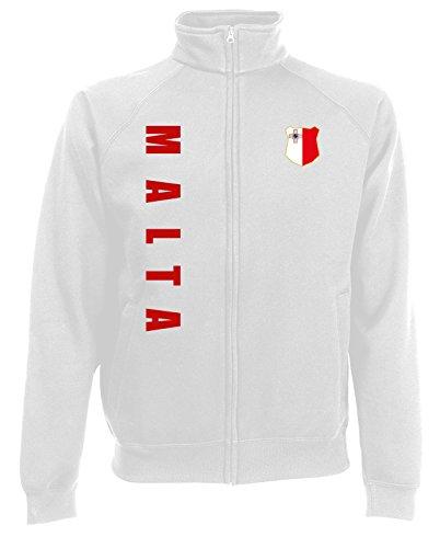 AkyTEX Malta Sweatjacke Jacke Trikot Wunschname Wunschnummer (Weiß, XL)