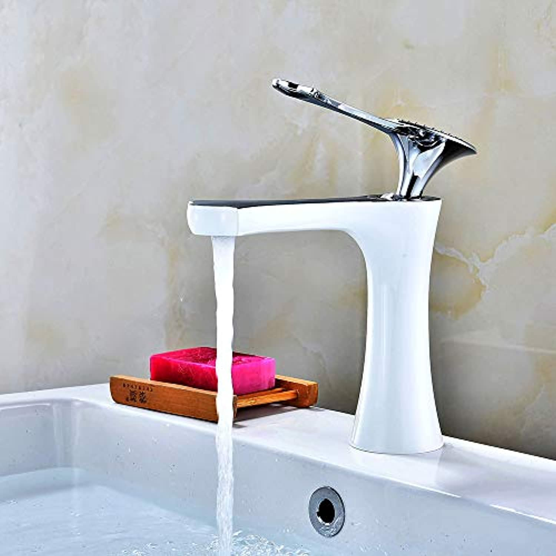 Malen Sie weien Becken-Hahn-Badezimmer-heien und kalten Wasserhahn-europischen Waschbecken-Hahn unter Gegenbecken-Hahn