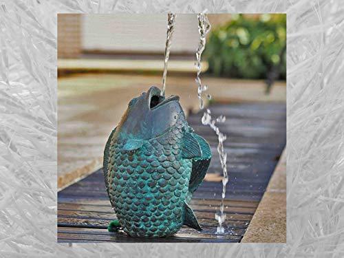 IDYL Escultura de bronce saltando pescado   29 x 19 x 23 cm   Figura de animal de bronce hecha a mano   Escultura de jardín o estanque   Artesanía de alta calidad   Resistente a la intemperie