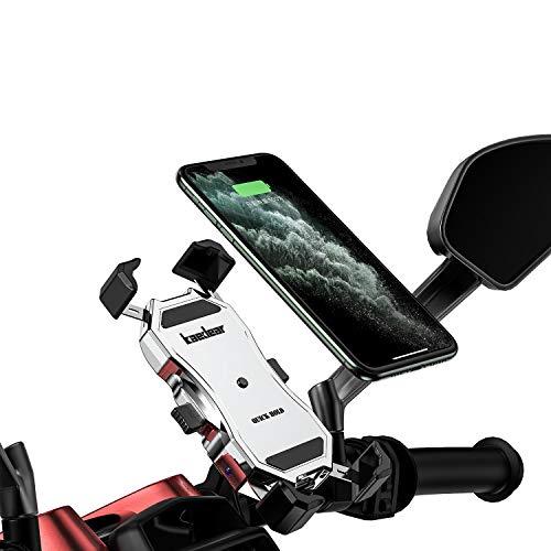 Kaedear(カエディア) バイク スマホ ホルダー usb スマホホルダー バイク用 【 クイックホールドUSB 】 充電 携帯ホルダー iphone galaxy android スマートフォン 充電器 電源 QC3.0 18W スイッチ ミラー マ