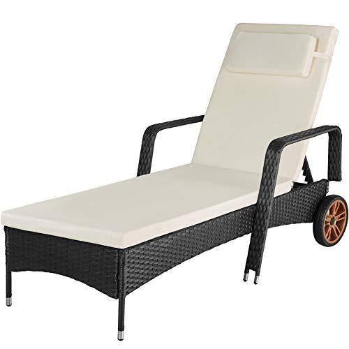 TecTake 800790 Tumbona de ratán sintético, Mueble Exterior con Estructura de Aluminio para Tomar el Sol en el jardín, reposera de poliratán con Ruedas (Negro)