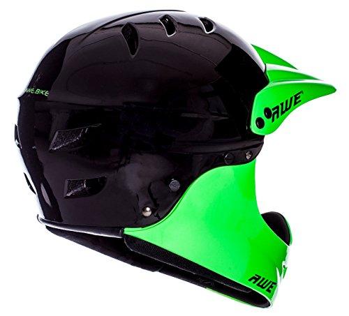 AWE® gratis 5Jahr Crash Ersatz * BMX Full Face Helm schwarz grün, Größe M 54–58cm - 3