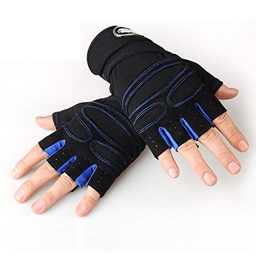 Workout Gloves for Powerlifting, Weight Training, Biking, Cycling - Premium Quality Weights Lifting Gloves Gym Gloves Washable for Callus and Blister Protection Men & Women (Dark Blue, XL)