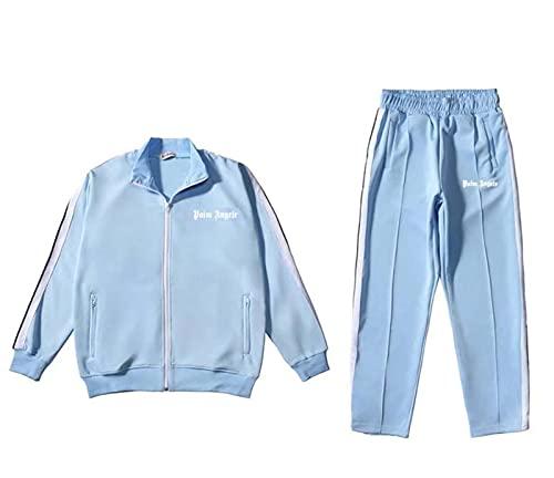 Herren Damen Palm Angel Sports Anzug Rainbow Gestreiften Jacke Brief Set Sportarigan School Uniform Jacke Unisex Casual Hose,Bronze,M