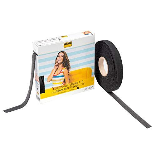 Vlieseline 53569603 Nahtband Flexibel GP 1.5cm x 50m, 100% PES, Schwarz, 1,5cm x 50 m