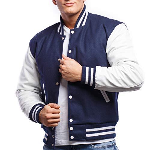 Varsity Base Letterman Jacket (Royal Wool, White Leather, XX-Large)