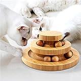 Tarnel Interaktives Katzenspielzeug aus Holz zweilagig drehbar Smart Track Ball...