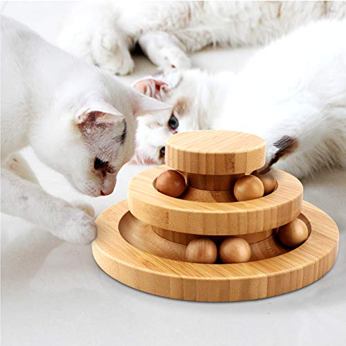 Gelrova Pet Interactive Fun Roller Exerciser 2 Level Tower of Tracks Cat Teaser Ball ToyTwo-ply rotatable Smart Track Ball rocking roll Gifts (Bamboo)