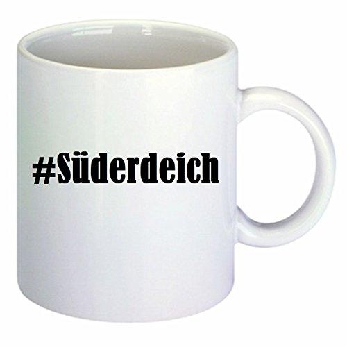 Koffiemok #Zuid-eik Hashtag ruit keramiek hoogte 9,5 cm ? 8 cm in wit
