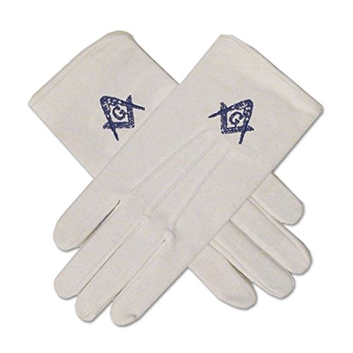 Blue Square & Compass Masonic Embroidered Cotton Gloves - [Blue & White]