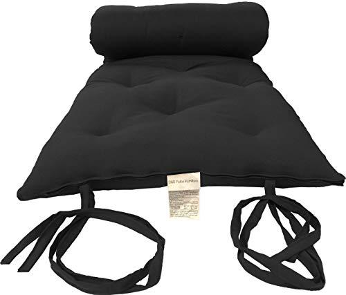 D&D Futon Furniture Premium Full Size Black Cotton/Foam/Polyester Traditional Japanese/Thai Floor Rolling Futon Mattresses, Beds 3x54x80