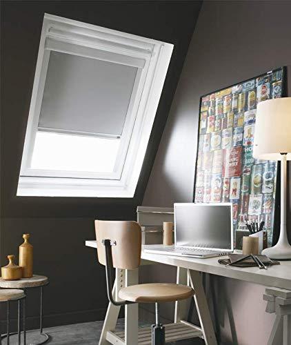 madecostore Dachrollo mit Aufrollmechanismus, für Velux, Grau, 120 x 74/116 cm, Modell U04/U08 – Aluminiumrahmen