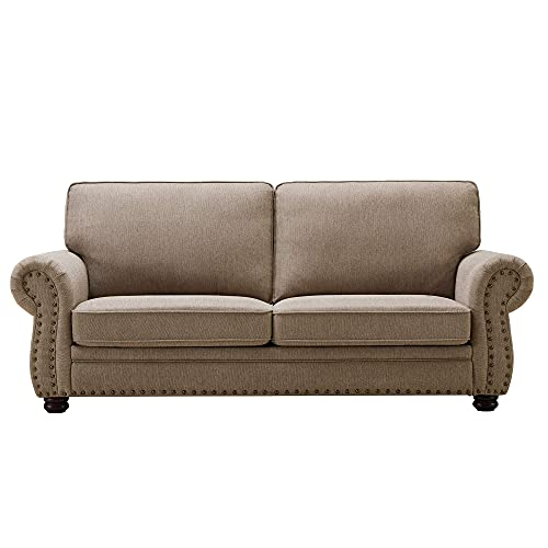 Habitana Stain Fabric Three Seat Sofa, Contemporary Living Room Couch with Natural Wood Finish Legs (Light Brown)