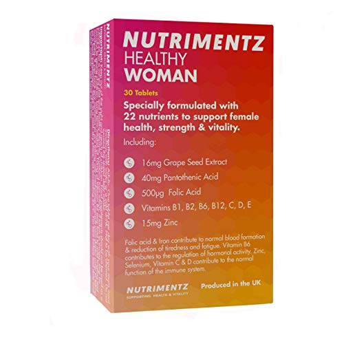 Nutrimentz Healthy Woman 30 Tablets Multi Vitamin Health Strength Vitality