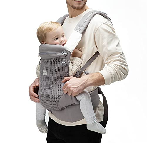 Bbpark Mesh Baby Carrier Newborn to Toddler, Facing-in and Facing-Out Front and Back Holder Kangaroo Carrier for Infant Grey
