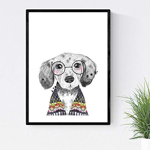 Blade voor honden hond drinkt met bril en sjaal Kinderposter A4-formaat Unframed