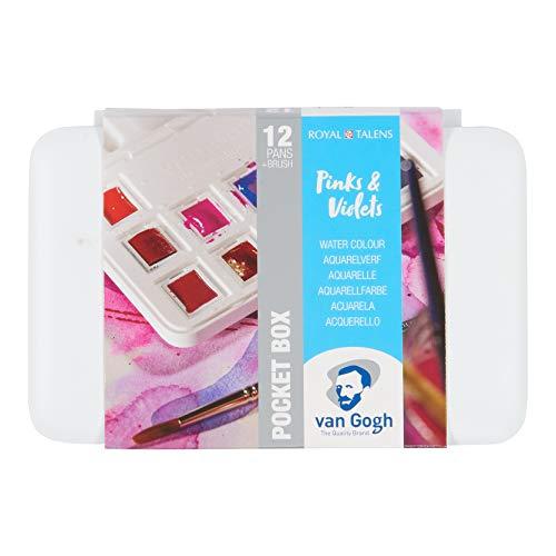 Van Gogh Watercolor Paint Set, Plastic Pocketbox, 12-Half Pan Pinks & Violets Selection