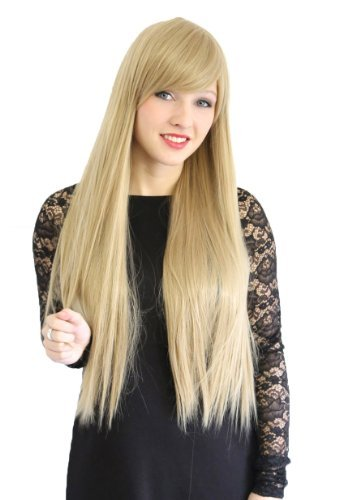 Prettyland Perruque très longue 75cm Blond Caramel Jaune Frange Volume Coiffure Lisse Travesti Manga Lolita C1883
