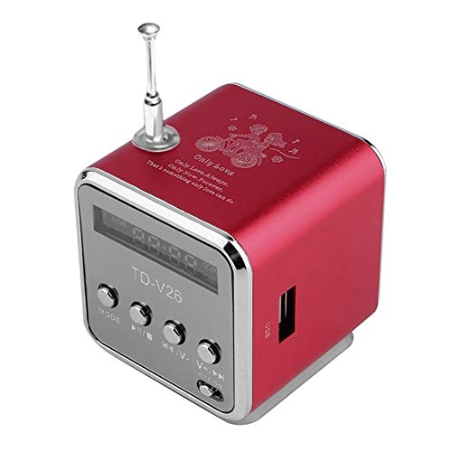 Kaper Go Rote tragbare Mini-Lautsprecher Sound Mini tragbare Digitale LCD-SD/TF FM-Stereo-Sendung Musik Laptop-Lautsprecher