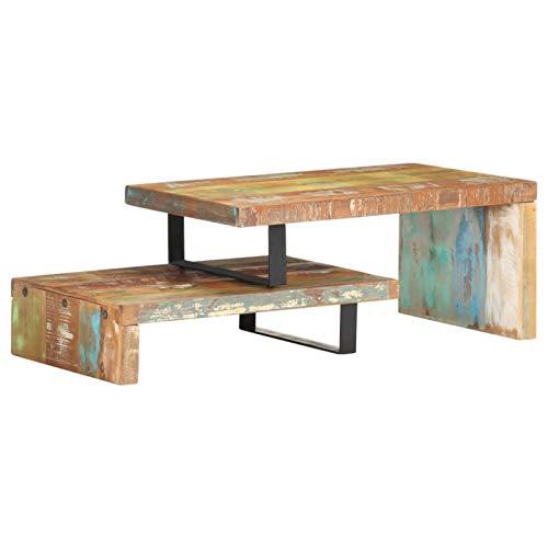 Tidyard Mesa de Centro Mesa para Sofá Juego de 2 mesas de Centro de Madera Maciza reciclada