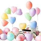 カラフル風船 ハートバルーン 8色 10インチ 2.2g 100個+ 空気入れ+結びクリップ+リボン+壁貼り両面シール アソート風船 誕生日パーティー 結婚式イベント 飾り付け 文化祭 ハロウィン クリスマス 新年 お祝い Ballon