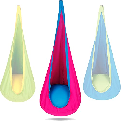 PikDos Kids Pod Swing Hanging Seat Indoor and Outdoor Use Child Hammock Chair 100% Cotton Loading...