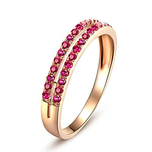 KnSam Damen Ringe Weissgold Damenring Echtgold Doppelte Reihe Edelsteinen Natürlichen 0.24 Karat Rubin Band Ring Rose Gold