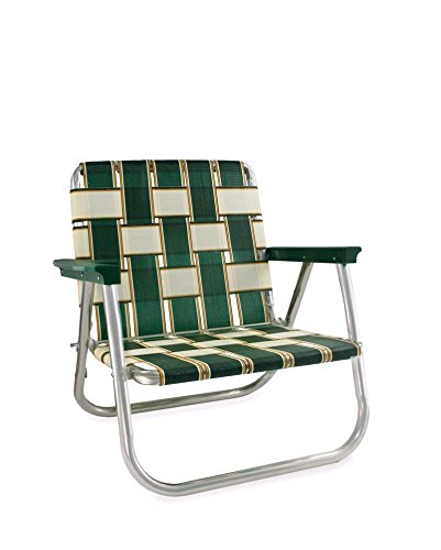 Lawn Chair USA Webbing Chair (Low Back Beach Chair, Charleston with Green Arms)