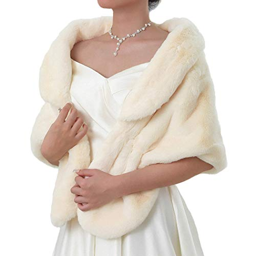 Nicute Women's Fur Wraps and Shawls Faux Rabbit Fur Scarves Bridal Sleeveless Fur Stole Accessories with Brooch for Bride and Bridemaid (Beige)