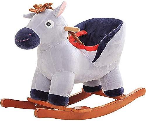 Byx- Baby-Schaukelpferd - Trojanisches Pferd, das festes Holz mit Musik-Baby-Schaukelauflage-Schaukelstuhl-Baby-Geburtstagsgeschenk rüttelt - Baby Schaukelpferd (Ausgabe   A)
