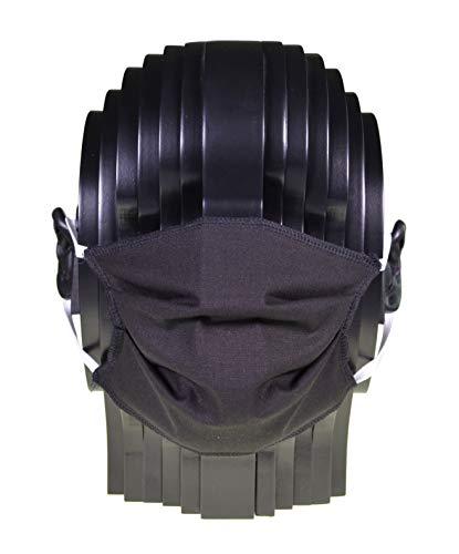 Mehrweg Mund- und Nasen-Maske aus 100% Baumwolle, waschbar bis 95 Grad, Made in Germany by biberna, Größe L bis XL, schwarz, 1er
