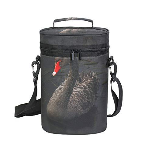 Montoj Weinkühltasche, isoliert, für Reisen, schwarzer Schwan am See, Tragetasche für Wein