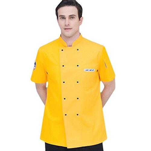 Dooxii Unisex Donna Uomo Mode Estate Manica Corta Giacca da Chef Professionale Ristorante Occidentale Cucina Mensa Uniformi Divise da Cuoco Giallo L