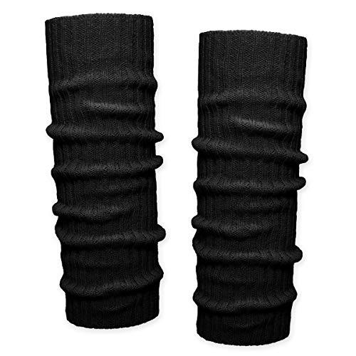 SoulCats 1 Paar Grobstrick Bein Stulpen unifarben in 7 verschiedenen Farben, Schwarz, Einheitsgröße