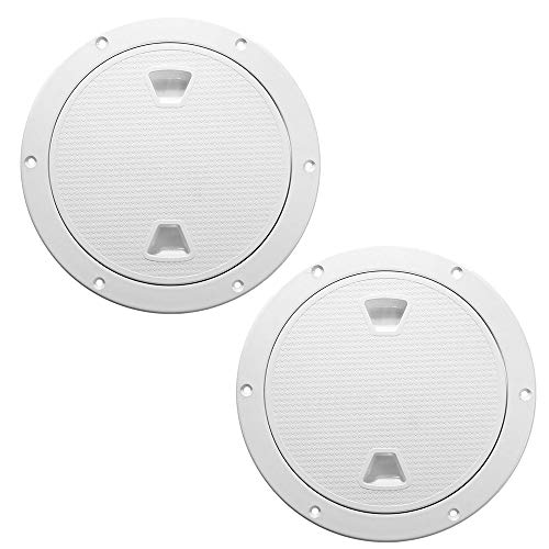 2 PCS White Access Hatch Cover Screw Out Deck Plate Detachable Cover Round Deck Plate Non-Slip(4'' 6'' 8'') (8')