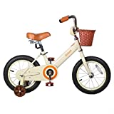 JOYSTAR 14 Inch Kids Bike for 3 4 5 6 Years Old Girls & Boys, Neutral Kids Bicycle with Basket & Training Wheels for 4-6 Years Children, Beige