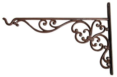 Esschert Design haak voor hangbasket, bevestiging voor hangmanden, houder bloempotten XL Single 35.5 x 2.4 x 24.7 cm bruin (roest)