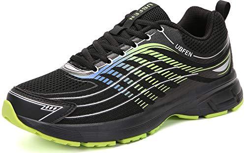 UBFEN Laufschuhe Herren Damen Turnschuhe Fitness Schuhe,44 EU,Schwarz Grün