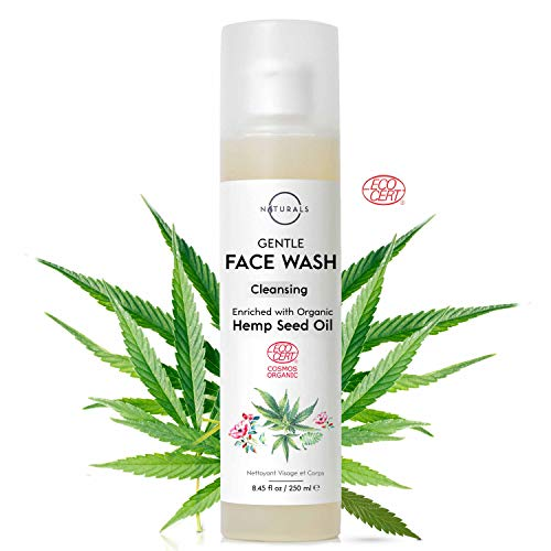 O Naturals Organic Aloe Vera Gel with Hemp Oil Wash Face Hands Daily Protection Hydrate Skin Eliminate Impurities Deep Cleaner Moisturize Skin All Natural Gentle Pore Cleansing Face Wash 8.45oz