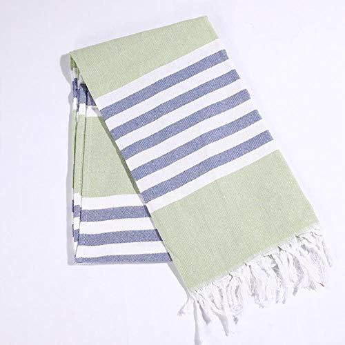 Erfhj katoenen badhanddoek Turks en Quaste reis Camping sjaal strand Gym deken winter dames 100 x 180 cm groen 100 x 180 cm