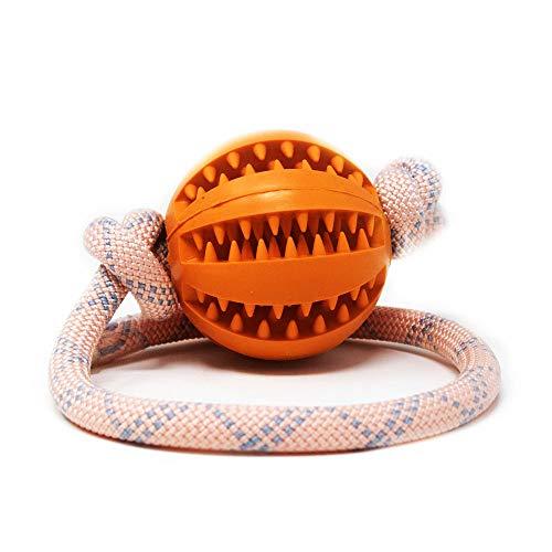 My Joone Made with Love | Hundespielzeug aus Tau in der Farbe rosa und Vollgummiball/Dentalball für kleine und große Hunde, Ball mit Schnur, Kauball, Wurfball, Snackball in 5cm und 7 cm
