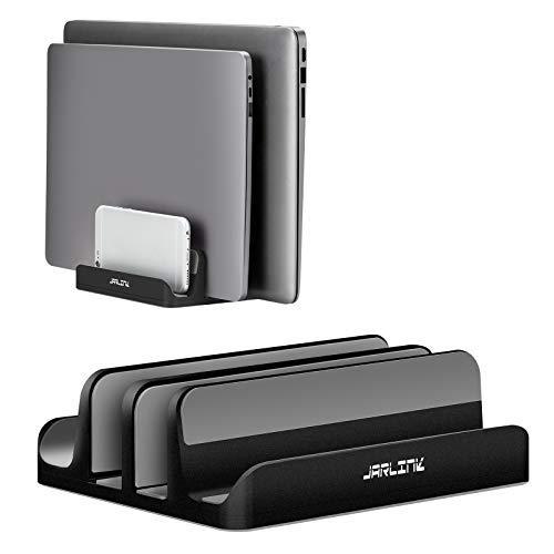 Soporte vertical ajustable para ordenador portátil, soporte de escritorio ajustable con 2 ranuras (hasta 17.3 pulgadas…
