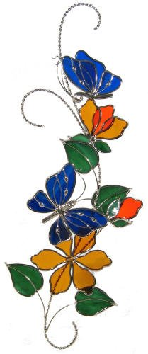 Stained Glass Blue Butterfly Scroll