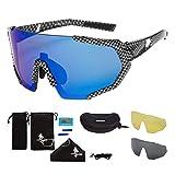 FREE SOLDIER Gafas de Sol Polarizadas con 3 Lentes Intercambiables para Hombres y Mujeres Gafas Ciclismo UV400 Gafas Fotocromaticas Ligeras para Navegar, Pescar, Conducir(Cuadrícula + Azul)