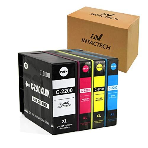 Intactech Compatible Ink Cartridges Replacement for PGI-2200XL PGI 2200 Pigment MB5120 MB5020 for Canon Maxify MB5420 MB5120 MB5320 MB5020 iB4120 iB4020 Printers (1 Black,1 Cyan,1 Magenta,1 Yellow)