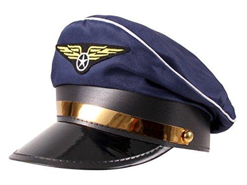 Alsino Cappello da Capitano Pilota di Colore Navy Blu (KH-182) Taglia Unica per Adulti, Travestimento Carnevale Halloween Festa Accessorio Aviatore Cappellino Azzurro Scuro